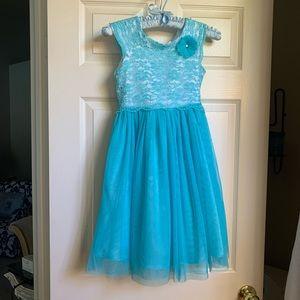 Girl/'s Jona Michelle Sleeveless Green Flower Jewel Special Occasion Dress Shawl